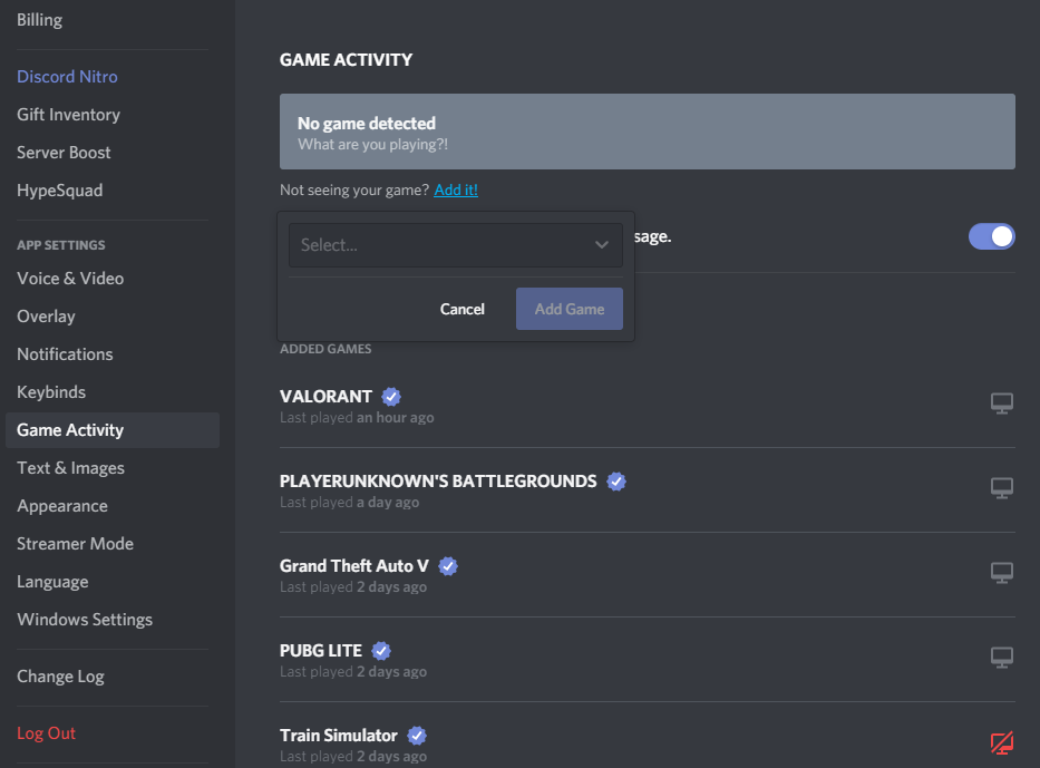 Add Programs in-Game Activity