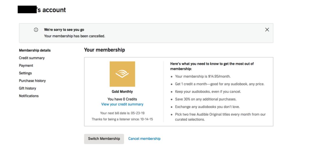 cancel audible membership
